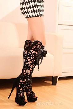 Amazing PU Upper Stiletto Heels Hollow Out Peep Toe Boots
