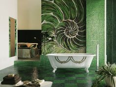 tile design, shell, modern interior, mosaic design, mosaics, bathrooms, mosaic tiles, bathroom walls, glass tiles