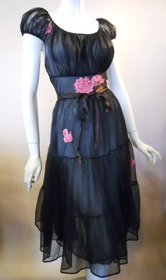 Sweet black nylon chiffon 1950s nightie with candy pink lace appliques.