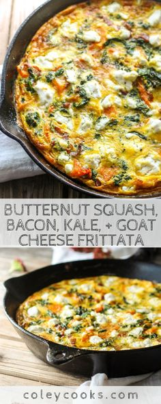 Minus the bacon! Butternut Squash, Bacon, Kale, + Goat Cheese Frittata | Easy frittata recipe with all the best Fall vegetables. Great for breakfast or brunch! #easy #fall #recipe #brunch #breakfast #eggs #frittata #kale #butternut | ColeyCooks.com