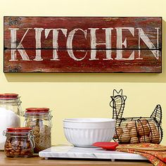 "love the wooden ""Kitchen"" sign and the egg basket"
