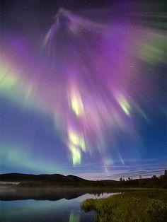 A supernova-like burst of mostly purple auroras lights up Finnish countryside in a wide-angle sky shot.