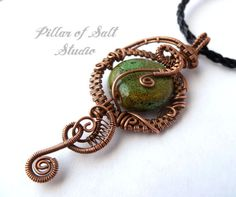 Wire wrapped pendant / Copper Wire Wrapped jewelry by PillarOfSaltStudio