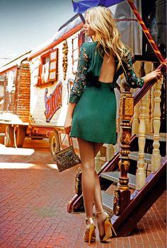 green dress + gold sandals