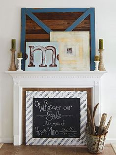 "Turn your fireplace mantel into a wow-worthy focal point with a decorating makeover.  You can use white matte vinyl lettering to make permanent ""chalk"" art."