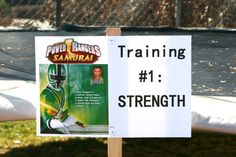 Power Rangers Birthday Party -- Strength training with tug of war