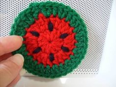 Free Pattern: Watermelon Crochet Coaster
