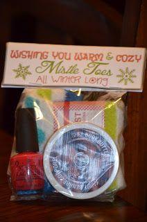 Wishing You Warm & Cozy Mistel Toes! Cozy socks, nail polish, lotion - cute teacher gift!