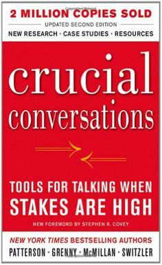 Crucial Conversations Tools for Talking When Stakes Are High, Second Edition by Kerry Patterson. $12.12. Publisher: McGraw-Hill; 2 edition (August 19, 2011). Author: Kerry Patterson. Publication: August 19, 2011