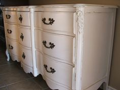 Antiqued White French Provincial Dresser | Facelift Furniture