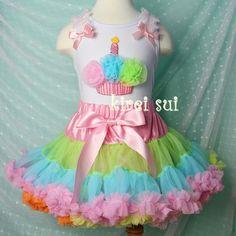 Girls KS Colorful Rainbow Pettiskirt Plus Matching Birthday Cupcake White Tank Tops