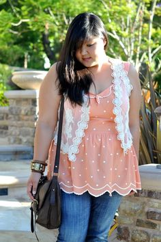 Dorothy Perkins top. American Rag vest.  Curvy Girl Chic - Plus Size Fashion and Style Blog