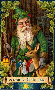 green Santa Claus vintage postcards, christmas cards, christma card, vintage christmas, vintag christma, vintag santa, vintage santas, father christmas, christma postcard