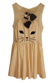 Lovely Cat White Mesh Dress  $54.99  fans love;)  #romwe