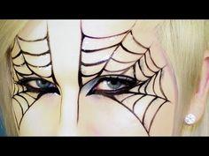 holiday, spider halloween makeup, spiderweb makeup, eye makeup, spiders, spider webs, mask tutori, masks, spider makeup