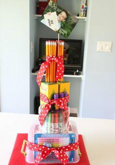 How to make a Teacher School Supplies Cake for Teacher Appreciation Week!