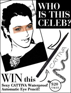 "Follow the instructions for a chance to win!  HERE'S HOW TO PLAY:  Follow @DermStore and @Cattiva Cosmetics on Pinterest    Guess who the mystery celeb is by typing your answer in the comment section.    Repin the image and in the description include ""I just entered @dermstore #guesstheceleb""    Send an email to contests@dsbeautygroup with a link to your repin and include your name and address in the email.       THAT'S IT-5 WINNERS WILL BE CHOSEN AT RANDOM!"