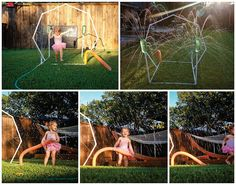 Harper's new PVC backyard splash zone - fun!  (my hubby is brilliant) #waterplay