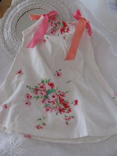 Vintage table cloth made into a dress.