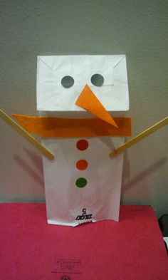 Paperbag snowman - collect stickers, colored paper, craft sticks, & some felt to create hours of winter fun! Checkout our preschool story times in our calendar of events at  http://www.mpl.org/file/kids_calendar_fall.pdf  .