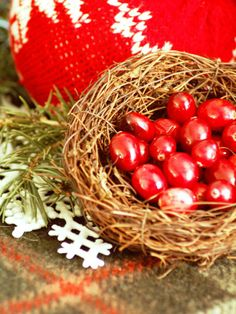 Keep it Natural: Egg-shaped fresh cranberries provide an unexpected pop of color against a craft store bird's nest. Shop the farmers' market, garden center and the great outdoors to find accessories for this rustic table setting. christmas table decorations, christma tabletop, decor ideasnew, bird nest, christmas tables, christma decor, tabl decor, rustic christmas, christmas ideas