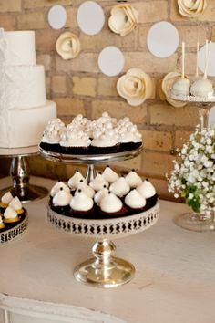 white & ivory wedding dessert buffet with vintage vibe