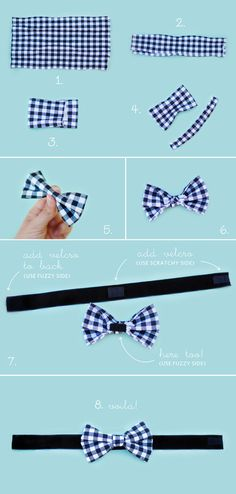 DIY No Sew Dog Bow Tie You'll need: - Fabric Scissors - Fabric - Thick Velvet Ribbon (or ribbon of your choice) - Velcro Squares (the ones with the sticky backs!) * Measure your dog's neck or collar size and trim the ribbon accordingly.   1.  Cut your fabric to approximately 4x9 inches.....