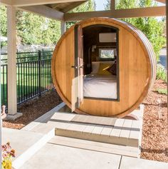 If a day of wine tastings at Walla Walla isn't enough to satisfy your vino fix, consider spending the night in Bryant Barn's giant wine barrel.