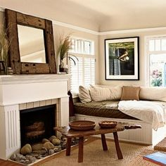 cute ideas with in this picture- Gorgeous rustic look lounge with fire place.