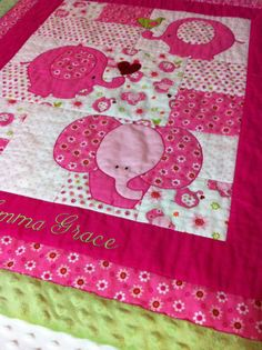 """Personalized Baby Quilt - Pink Elephant -  35"""" X 40"""" with Green or Pink Minky Binding"""