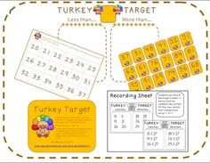 Turkey Target (Comparing one and two digit numbers Common Core)