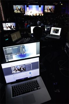 Behind the scenes view from the Livestream desk #LWS