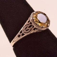 Elegant Art Deco Sterling Filigree and Citrine Ring