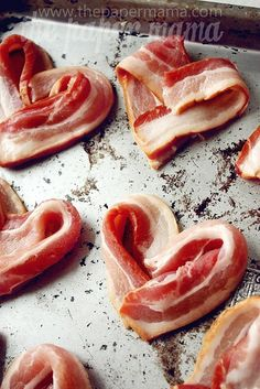 Morning of Anniversary or Birthday etc.!!! Bacon Hearts, such a fun twist for breakfast. 400F - 18 min or so. Need this!! Love my bacon!!