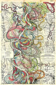 Courses of the Mississippi over the years.