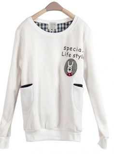 WHite Rabbit Pocket Round Neck Long-sleeved Sweatshirt$36.00