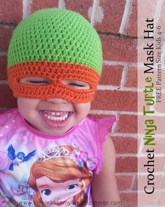 This is a FREE crochet Ninja turtle Hat pattern and is made to fit a child age 4-6.