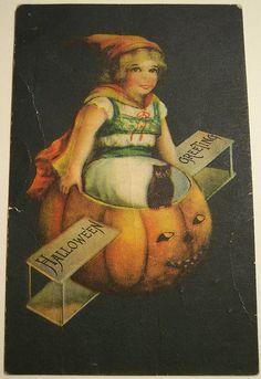 Vintage Halloween Postcard  by  artist Ellen H Clapsadle