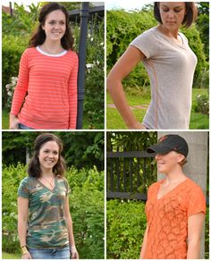 A bunch of neck and sleeve options to make this tee pattern into totally different looks! (Union St tee by Hey June)