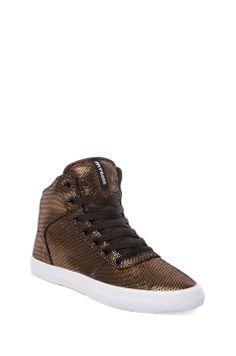 Supra Cuttler Sneaker in Black/Gold Suede
