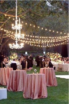 Outdoor Summer Reception Decor - #lighting #tablecloths #skirts #mauve #decor #weddindday #beautiful #outdoors