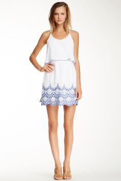 City Triangles Popover Embroidered Flutter Dress