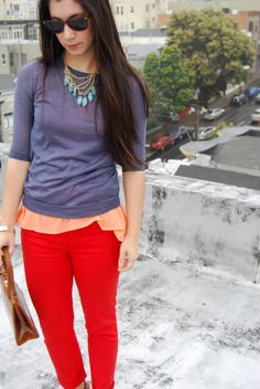turquoise. grey. coral. red pants.