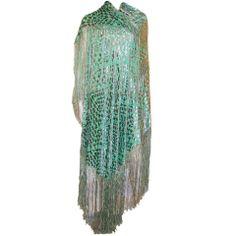 1920s Silver Cut-Silk Velvet & Medium Green Silk Shawl