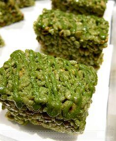 Matcha rice krispy treat with Korean rice puff