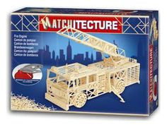 """The Matchitecture Fire Engine matchstick kit includes everything needed to make this matchstick model kit.  Included are all the pre-cut card formers along with the glue, matchticks and full instructions.  These instructions will guide you through each stage of the construction until you finally achieve the finished product. We would highly recommend this Matchitecture Fire Engine matchstick model Kit.  Finished size of model: L 420mm (16.5"""") H 170mm (6.7"""")"""