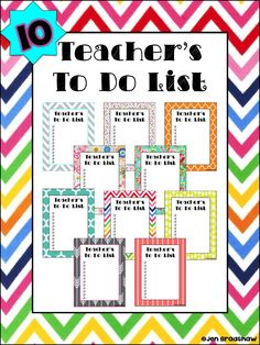 FREEBIE! Teacher's TO DO Lists to help you stay organized and save time. 10 bright colors and designs. #freebie #list