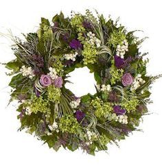 Hydrangea Wreath With Lavender Roses Spring Wreaths
