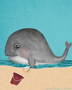 Lets Go To The Beach Cute Whale Art For Beach Or Ocean Themed Kids Room or Baby Boy Nursery