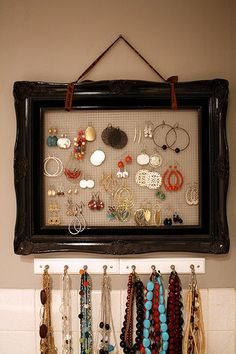 organizations, jewelry displays, diy jewelry, old picture frames, earring, organization ideas, jewelry organization, thing, jewelri organ